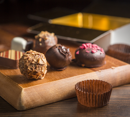 Chocolate truffles - we print chocolate boxes and labels for a range of high-end confectionery packaging clients.